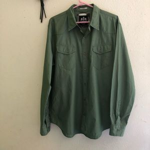 Express Fitted Shirt Color Green Size XL